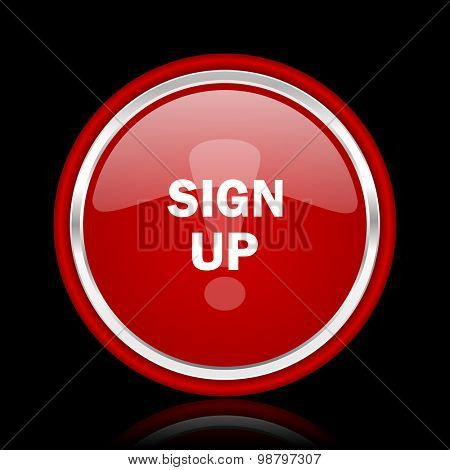 sign up red glossy web icon chrome design on black background with reflection