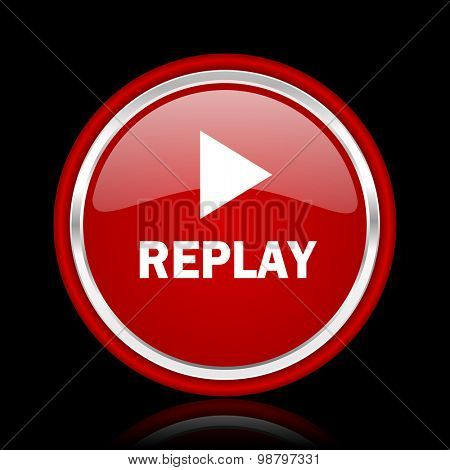 replay red glossy web icon chrome design on black background with reflection
