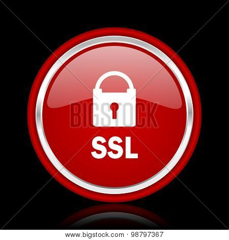ssl red glossy web icon chrome design on black background with reflection