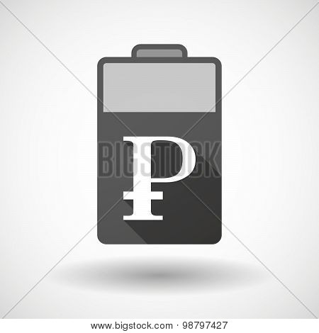 Isolated Battery Icon With A Ruble Sign