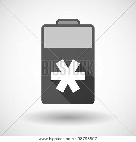 Isolated Battery Icon With An Asterisk