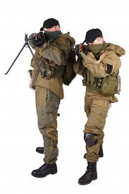 pic of ak-47  - insurgents with AK 47 and RPD machine gun isolated on white background - JPG