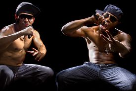 pic of gangsta  - Rap concert with two muscular shirtless men with microphones - JPG