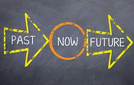 picture of past future  - Motivational saying that we need to look at the past - JPG