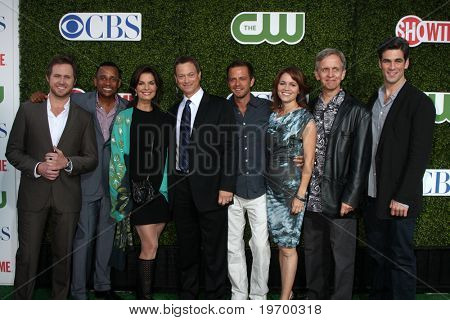 LOS ANGELES - JUL 28:  CSI: NY Cast (L-R) Buckley, Harper, Sela Ward, Gary Sinise, Giovinazzo, Belknap, Joy & Cahill arrive at the CBS Summer TCA Party at The Tent on July28, 2010 in Beverly Hills, CA
