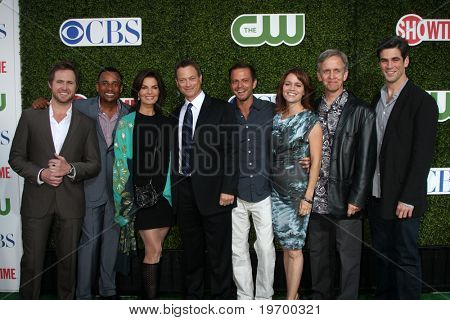 LOS ANGELES - JUL 28:  CSI: NY Cast - Buckley, Harper, Sela Ward, Gary Sinise, Giovinazzo, Belknap, Joy & Cahill arrive at the CBS Summer TCA Party at The Tent on July28, 2010 in Beverly Hills, CA