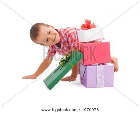 Happy Boy With Presents