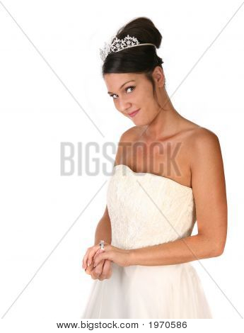 Bride Reflecting On Her Pending Marriage In Studio
