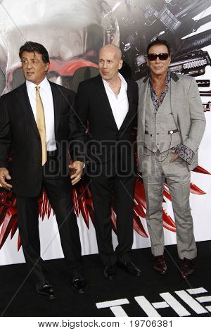 "LOS ANGELES - AUGUST 3:  Sylvester Stallone, Bruce Willis & Mickey Rourke. arrives at ""The Expendables"" LA Premiere at Grauman's Chinese Theater on August 3, 2010 in Los Angeles, CA"