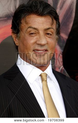 "LOS ANGELES - AUGUST 3:  Sylvester Stallone  arrives at ""The Expendables"" LA Premiere at Grauman's Chinese Theater on August 3, 2010 in Los Angeles, CA"