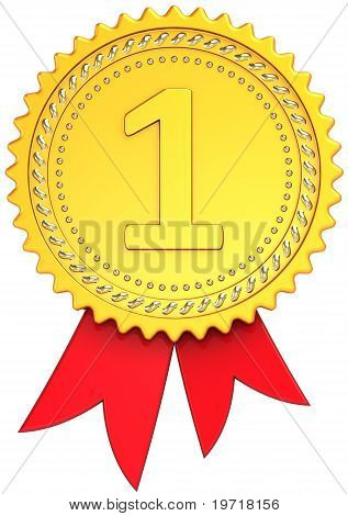 Award ribbon First place golden badge