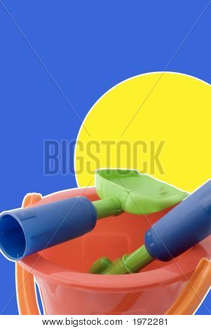 Bucket And Spade On Bright Backdrop
