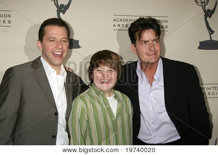 LOS ANGELES - FEB 27:  Jon Cryer, Angus T. Jones, and Charlie Sheen arrive at the Two and a Half Men - Panel  at ATAS on February 27, 2008 in North Hollywood, CA                .