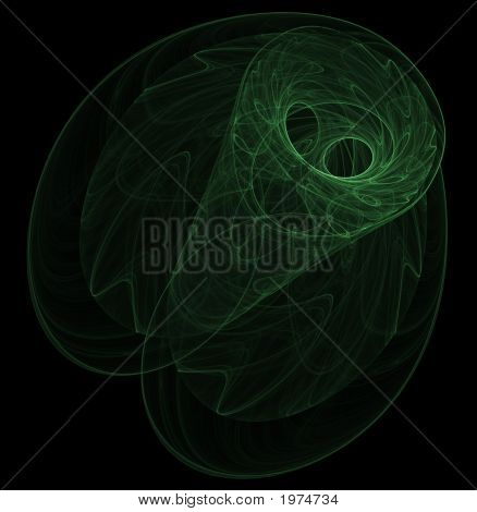 Optical Art Fractal Attractor Night Moth One Green