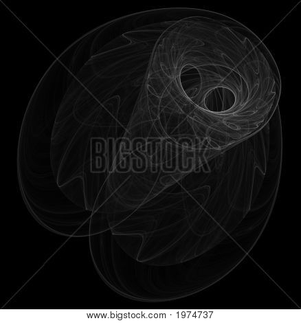 Optical Art Fractal Attractor Night Moth One White