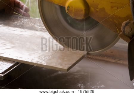 Tile Saw Cutting Tile