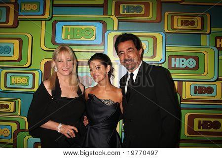 BEVERLY HILLS - JAN 16: Arlene Vrhel Mantegna, Joe Mantegna, Gia Mantegna arrives at the HBO Golden Globe Party 2011 at Circa 55 at the Beverly Hilton Hotel on January 16, 2011 in Beverly Hills, CA
