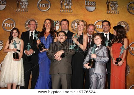 LOS ANGELES - JAN 30:  The Cast of Modern Family  in the Press Room at the 2011 Screen Actors Guild Awards  at Shrine Auditorium on January 30, 2011 in Los Angeles, CA
