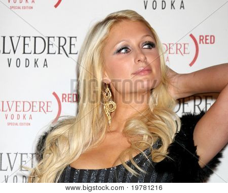 LOS ANGELES - FEB 10:  Paris Hilton arrives at the Belvedere RED Special Edition Bottle Launch at Avalon on February 10, 2011 in Los Angeles, CA