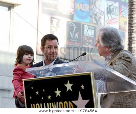 LOS ANGELES - FEB 1:  Adam Sandler & Daughter, Henry Winkler at the Adam Sandler Hollywood Walk of Fame Star Ceremony at W Hotel on February 1, 2011 in Hollywood, CA