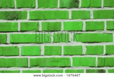 Brick Wall Made Of Green Bricks
