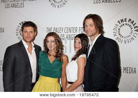 "LOS ANGELES - MAR 13:  Jensen Ackles, Danneel Harris Ackles, Genevieve Cortese and Jared Padalecki arrive at the ""Supernatural"" PaleyFest 2011 at Saban Theatre on March 13, 2011 in Beverly Hills, CA"