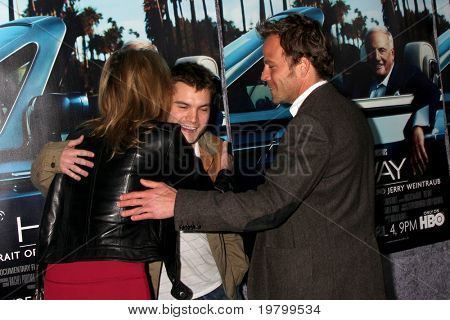 LOS ANGELES - MAR 22:  Sharon Stone, Emile Hirsch and Stephen Dorff arrive at the HBO's