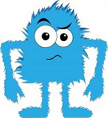 Blue Furry Monster Upset Face poster