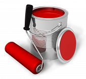 image of paint pot  - Can with red paint and roller brush on white background - JPG