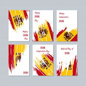 Spain Patriotic Cards For National Day. Expressive Brush Stroke In National Flag Colors On White Car poster