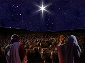 stock photo of bethlehem star  - Bethlehem Star appearing to shepherds in Field of sheep - JPG