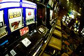 stock photo of slot-machine  - a slot machine in the casino waiting for the lucky draw - JPG
