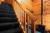 Wooden interior and stairway