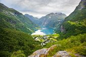 view on Geiranger village from Flydalsjuvet viewpoint, Norway poster