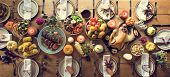 Thanksgiving Celebration Traditional Dinner Setting Food Concept poster