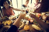 People Cheers Celebrating Thanksgiving Holiday Concept poster