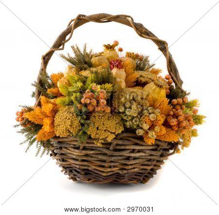 Arrangement Of Dried Flowers In A Basket