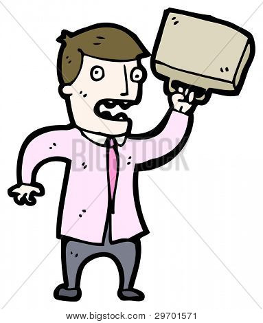 angry businessman throwing briefcase cartoon (raster version)