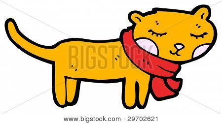 cute cartoon cat wearing scarf (raster version)