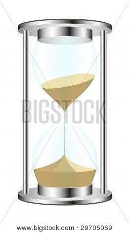 Sandglass in metal design