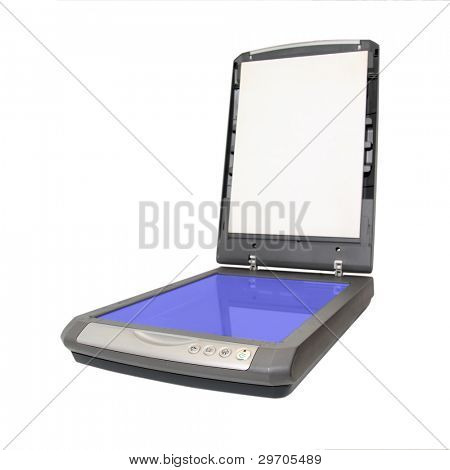 old scanner on white background