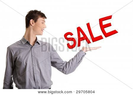 Sales man presenting new promotion (SALE) on white background