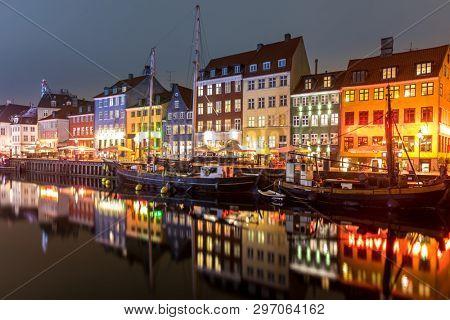poster of Copenhagen Nyhavn, New port of Copenhagen, at night in Denmark