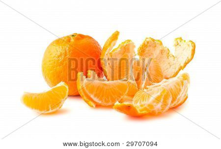Ripe Tangerine With Slices And Peel