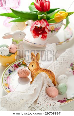 Easter table setting with easter candy