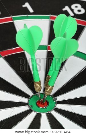 Dartboard Bull´s Eye. Three Darts On Center
