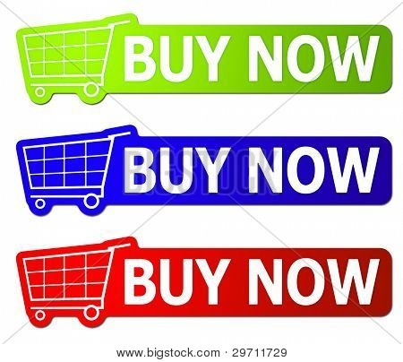 Three buy now signs with clipping path