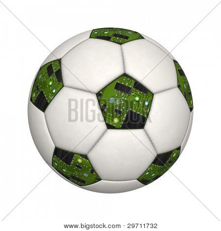 An image of an isolated soccer ball with circuit board