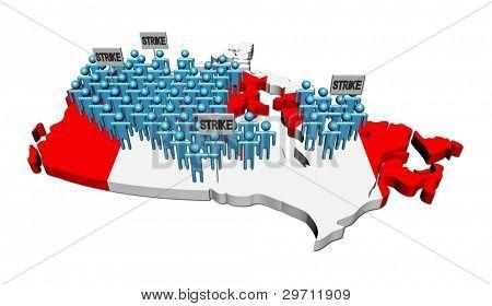 trabalhadores em greve em ilustração de bandeira do Canadá mapa
