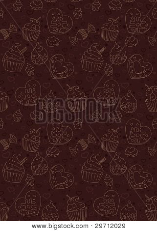 Seamless pattern with cupcakes,candies and other sweet and tasty food